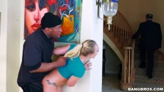 Hot blond slut getting fucked by a black dick
