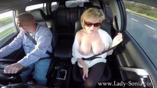 Nylon MILF Masturbates For Her Chauffeur
