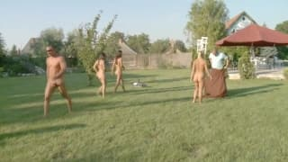 Group of friends having outdoor pleasure games