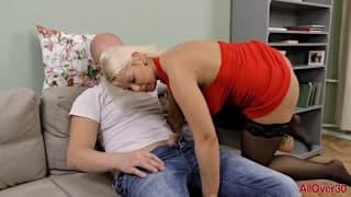 Amazing busty MILF anal fucked hard