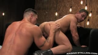 Marc Dylan on the sofa with Trenton Ducati