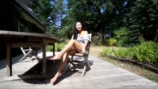 Fucking Horny Asian Fiance Outdoors