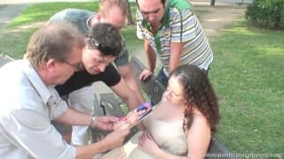 Pregnant woman in a gangbang session