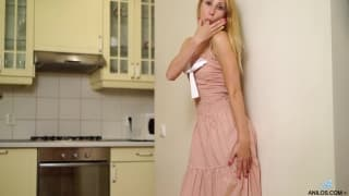 Blonde Mari plays with herself in solo