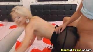 This blonde is addicted to her guy's dick!