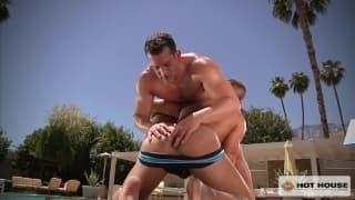 In the pool with Kyle King and Matt Cole