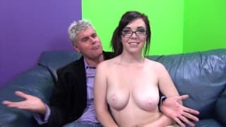 Sweet nerdy girl with big tits sex on couch