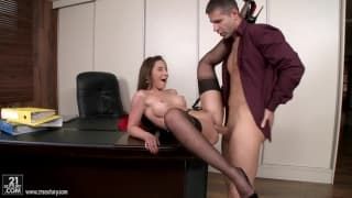 Brunette fucked in office gets POV facial