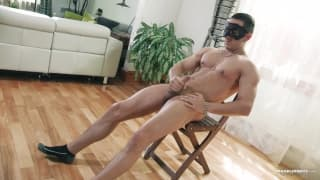 Carlos gets turned on by his mask and wanks