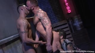Three guys enjoy a lick, a suck and a blow