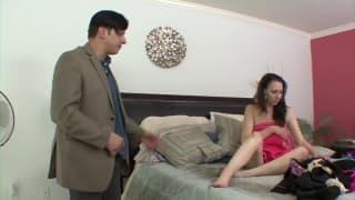 Big tits brunette find her manager masturbate
