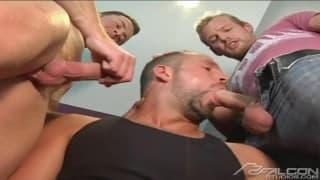 Much pleasure for three homosexual men