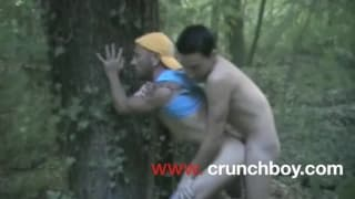 Outdoor gay sex in the forest in this clip