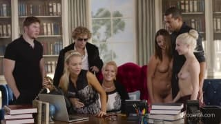 Fantastic orgy with five in an office