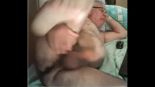 Old guy gets his wang out to play with