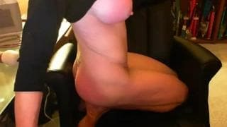 Masked lady giving a special guy webcam show