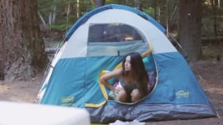 Brunette loves to camp and we see why here