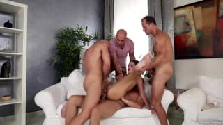 Young Hottie Gangbanged by 4 Big Dicks
