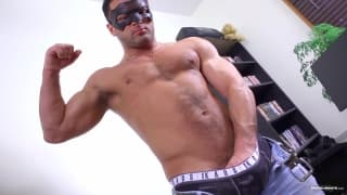 Jeremy is a muscle mary in a mask, tossing off