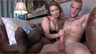 Mistress T masturbates a hot tattooed guy