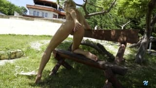 Russian blonde comforts her vagina in sun