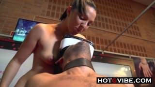 Lesbians Squirting on Man Slave in Public __ _