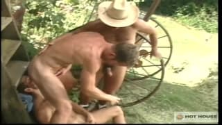 These naughty cattle handlers handle cock!