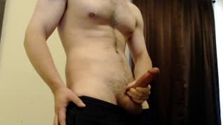 Big cock stroked to cumshot in college dorm