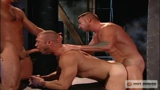 Three actors giving each other gay pleasure
