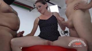 Hot sexy women using a dildo before jerking guy