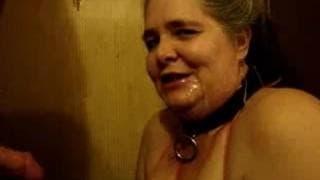 Dirty mature whore gets a cum facial