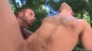 Brian Bonds and Chris Bines cumming outside
