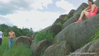 Threesome with a teen in a hay batch