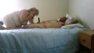 A blonde mature woman making him cum