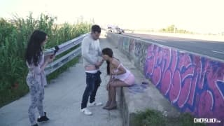 Sexy girl getting fucked near the road