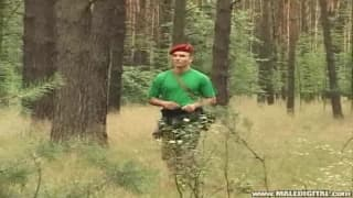 He wanks off in the forest until he cums