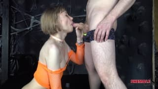 Sofia Hardy gets on her knees and sucks