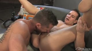 Dylan Roberts and Charlie Harding playing