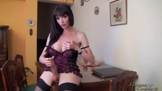 Solo hot tranny with big tits jerking off
