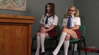 Two hot sluts student cough jerking off