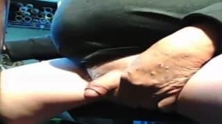 This fat guy enjoys masturbating on webcam
