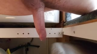 This guy gets an erection just from cleaning!