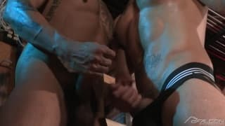 Boomer Banks and Brock Avery giving blowjobs