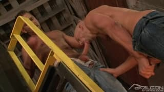 Andrew Justice and Brock Armstrong licking