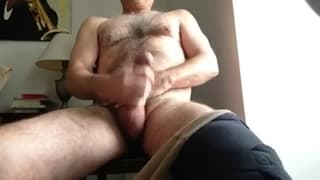 This guy grabs his dick in front of the cam