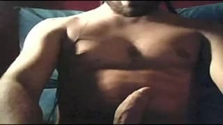 This hot guy masturbates eagerly in bed