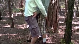 These gays have a good time sucking outdoors