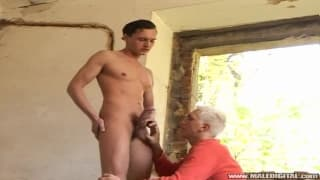 A blonde guy and his friend sucking cock