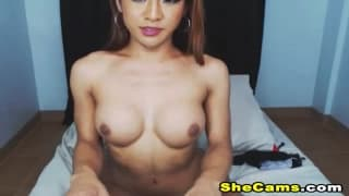 Busty Shemale Masturbates and Cum Solo on Cam