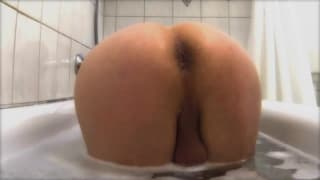 Getting soaped up and showered on camera